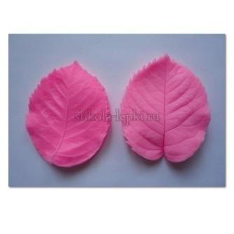 Двойной молд лист розы двусторонний силиконовый