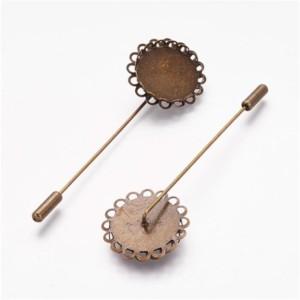 Булавка шляпная, игла с диском «античная бронза»