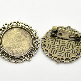 Основа для броши ажурная, «античная бронза»