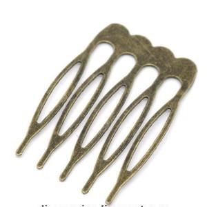 Гребешок мини металл цвет бронза