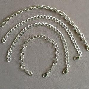 Браслет металлический цепочка с карабином «серебро»