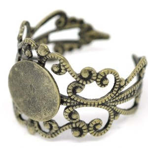 Основа для кольца филигранная диск 8 мм «винтаж» под бронзу