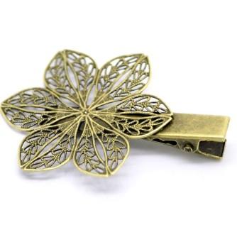 Зажим «цветок, 6 лепестков», античная бронза