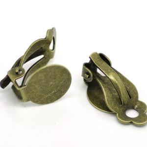 Клипсы основы для серег с диском цвет бронза