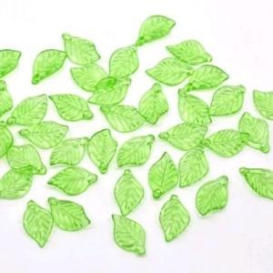 Листики бусины акриловые (набор 50 шт)