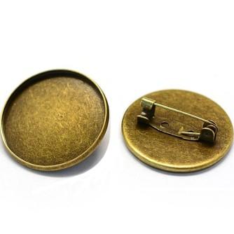 Булавка плоский диск с бортиками 25 мм «античная бронза»