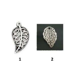 Листик подвеска металл, «античное серебро»