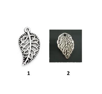 Листики подвески поштучно , цвет «античное серебро»