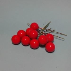 Искусственные ягоды на проволоке d 1,5 см, набор 10 шт