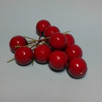 Ягоды 2см глянцевые «бусины» на проволоке бордовые, вишня