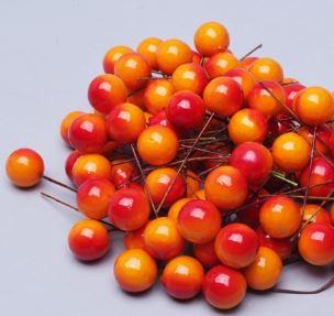 Искусственные ягоды на проволоке d 2 см, набор 10 шт