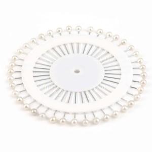 Булавка портновская с белым «перламутровым» шариком (набор 48 шт)