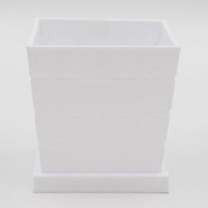 Кашпо горшок белый квадратный на подставке