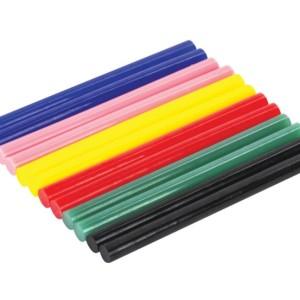 Клеевые стержни, d 7мм, длина 100 мм, цветные в наборе 12 шт