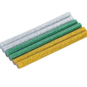 Клеевые стержни, d 7мм, 100 мм, цветные с блестками, набор 6 шт